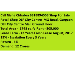 Call Nisha98l8894553 Retail Shop For Sale in DLF City Centre  Gurgaon Price 12CR